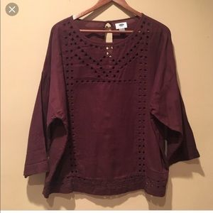 Old Navy  burgundy eyelet tunic cotton top size XL